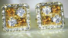 4 CORNER TOPAZ & CLEAR CRYSTAL CUFFLINKS MADE WITH SWAROVSKI CRYSTALS