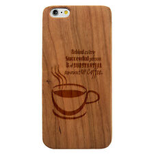 Laser Engraved Wood Case Quote Funny Coffee