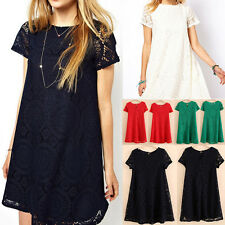 New Women Hollow Out Lace Short Sleeve Top Casual Loose Blouse Shirt Mini Dress
