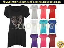 Womens Plus Size Gold Animal Heart Hanky Hem Ladies Short Sleeve Long Top 14- 32