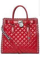 MICHAEL KORS HIPPIE HAMILTON DARK RED QUILTED LARGE TOTE HANDBAG *No dust bag""