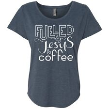Fueled By Jesus & Coffee Triblend Dolman Sleeve Graphic Shirt