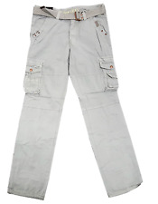 M. Society Silver Grey Drawstring Ankle Belted Cargo Pants