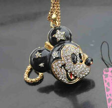 D624B   Betsey Johnson crystal enamel bow-knot Mouse Pendant Sweater Necklace
