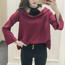 2017 Women's Korean Fashion Plaid Pattern V Neck Casual Loose Top Blouse Shirt