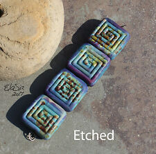 Terrapin Labyrinth -  Handmade Glass Lampwork Square Beads - elasia SRA MTO