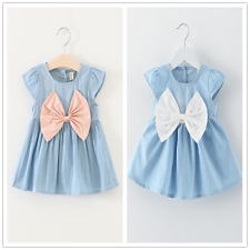 Infant Baby Girls Dress Sleeveless Bowknot Denim Skirt Fashion Summer Clothes