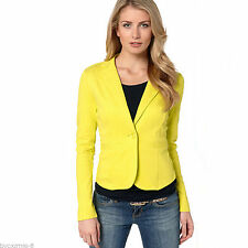 OL Womens Color Blazer Jacket Suit Work Casual Basic Long Sleeve Candy Button