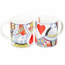 Playing Cards Styled Ceramic Mugs King or Queen of Hearts