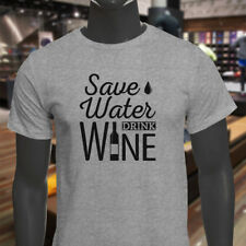 SAVE WATER DRINK WINE BOTTLE DRINK ALCOHOL HUMOR Mens Gray T-Shirt
