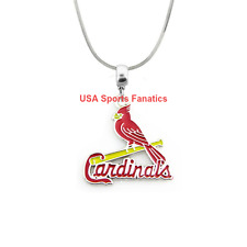 MLB St. Louis Cardinals 925 Sterling Silver Team Pendant Logo Necklace (5 Sizes)