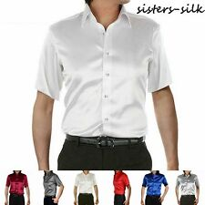 Mens 30 Momme 100% Pure Silk Dress Business Shirts Short Sleeve Aisilk