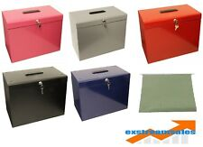 Metal File Storage Box A4 Lockable 5 Free Files OR Optional Suspension Files