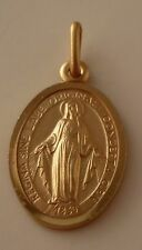 9kt Gold 375 Oval Religous Mary Miraculous Pendant Immaculate Conception MALTA