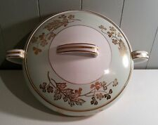 VINTAGE COVERED VEGETABLE DISH BY NORITAKE CHINA of JAPAN - GREEN WHITE GOLD