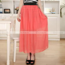 Womens Chiffon Double Layer Pleated Long Maxi Dress Elastic Waist Skirt 18 Color