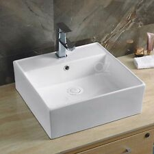 Bathroom White Square Above Counter Ceramic Basin Sink Faucet Hole Vanity 32mm