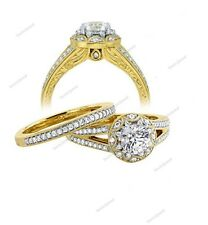 Yellow Gold Plated Round Simulated Diamond Engagement Wedding Band Ring Set