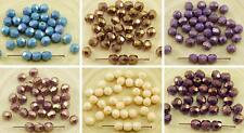 40pcs Luster Czech Glass Round Faceted Fire Polished Beads 6mm