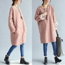 Women Dress Medium-long Basic Shirt Long-sleeve Loose Fleece  One-piece Dress