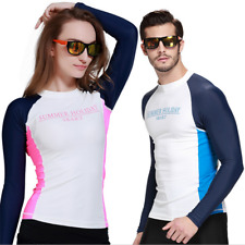 Men Women Long Sleeve Rashie Rash Vest Surf Swim Top Wet Shirt Swimwear UPF50+