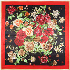 "Women's Red Silk-Satin Square Scarf with Euro Vintage Flower Printed 35""*35"""