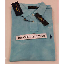 NWT POLO RALPH LAUREN MENS CUSTOM FIT PRINTED MESH POLO SHIRT TURQUOISE SIZE S,M
