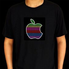 Sound Activated Flashing Light Up Down Apple Equalizer Unisex LED T Shirt