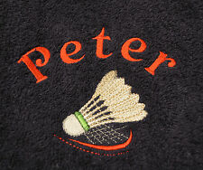 Personalised Embroidered Badminton Design Gym Towel.
