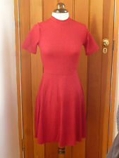 ATMOSPHERE PRIMARK DEEP RED COLLAR LACE WEAVE STRETCH SKATER DRESS 6 8 10