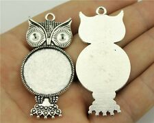 9pcs fit 25mm Cameo Cabochon Antique Bronze or Silver Round Owl Base Setting