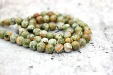 "Rhyolite Green Rainforest Jasper Round Beads Gemstone 16"" strand (4, 6, 8, 10mm)"