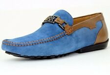 Mezlan Taddeo Driving Men's Slip-On Loafer Shoe Suede Leather 7070 Blue Tan