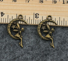 Wholesale 15/60pcs Tibetan Silver Moon angel Jewelry Charms Pendant 25x14mm