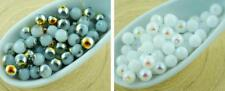 100pcs Opaque White Half Round Druk Pressed Czech Glass Beads Small Spacer 4mm