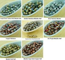 100pcs Crystal Metallic Half Round Druk Pressed Czech Glass Beads Small Spacer 4