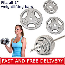 "CAP Barbell 1"" Olympic Weights SINGLE 2.5lb - 25lb Pounds Solid Cast Iron Plates"