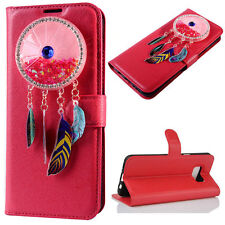 (Red)Wind chimes Quicksand Flip Wallet Case Cover For Samsung Galaxy Model