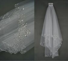 Hot 2017 White/Ivory 2T Elbow Beaded Edge Pearl Sequins Wedding Bridal Veil+Comb