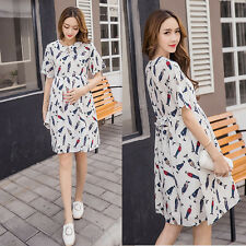Collared Dress Nursing Breastfeeding Empire Waist Pregnancy Maternity Cute 8625