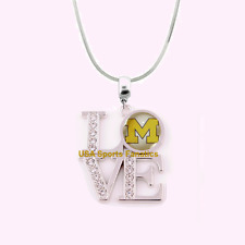 NCAA Michigan Wolverines 925 Sterling Silver Team Love Necklace With Rhinestones