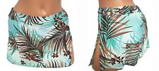 NEW Swimsuit Bikini Bottom Skirted Skirt Women Large 14 Brown Blue ATHENA 3709