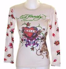 New Women's Ed Hardy Long Sleeve Specialty T Shirt Love Kills Slowly Xsmall