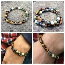 Tigers eye green Connemara marble mens bracelet. Irish jewelry gemstone. Celtic