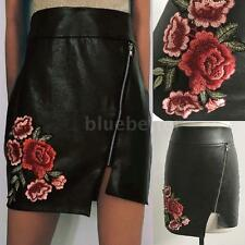 Sexy Women Vintage Black PU Leather High Waist Pencil Embroidery Mini Skirt Z1E6