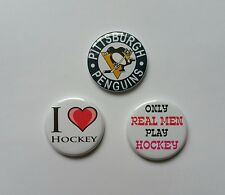 """Lot of 3 1.25"""" Pinback / Magnets / Flatback Buttons Pittsburg Penguins Hockey"""