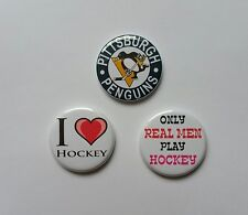 "Lot of 3 1.25"" Pinback / Magnets / Flatback Buttons Pittsburg Penguins Hockey"