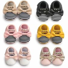 Newborn Baby Sole Leather Shoes Kid Girl Soft Crib Moccasin Prewalker 0-18 Month