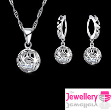 925 Sterling Silver 4mm Crystal Patterned Ball Pendant Necklace Earring Set