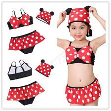 Girls Kids Polka Dot Swimsuit Tankini Swimwear Bikini Swimming Costume Swim Cap